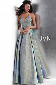 JVN 65851.  Criss Cross Back A Line Prom Gown. Available in: green-blue only.