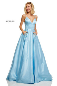 Sherri Hill 52629.  Ball Gown with Sapghetti Straps and Pockets. Available in: Red, Dark coral, Light blue, Blush, Ivory, Orange, Emerald, Yellow, Royal, Bright pink, Navy, Black.