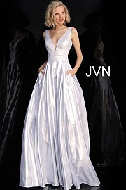 JVN 66900A.  Metallic Sleeveless Side Cut Outs Prom Dress. Available in: silver or gold metalic.