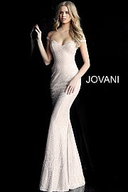 Jovani 60139A.  Glitter embellished jersey prom dress with off-the-shoulder sleeveless bodice and sweetheart neckline, floor-length fitted skirt with a lightly flared end. Available in: black, blush, light-blue, red.