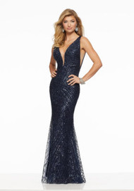 Mori Lee 43007.  Sexy Fitted Prom Dress Featuring All Over Patterned Sequin and a Plunging V-Neckline. A Strappy, Lace-Up V-Back Completes the Look. Available in: Gold, Navy.
