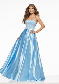 Mori Lee 43012.  Sleek Prom Dress Featuring an A-Line, Hammered Satin Skirt With a Fully Beaded Bodice. A Sexy, Strappy Open Back Completes the Look. Available in: Light Blue, Silver.