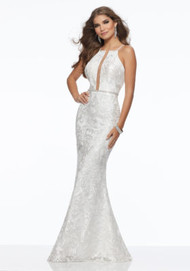 Mori Lee 43022.  Chic Fitted Party Dress Featuring Intricate Allover Sequined Embroidery on Net. A Beaded Waistband and Strappy Back Complete the Look. Available in: White/Nude, White.