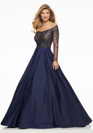 Mori Lee 43031.  Long Sleeve Taffeta Prom Gown Featuring a Sheer, Boned Bodice Accented in Tonal Beading.. Available in: Navy, Wine.