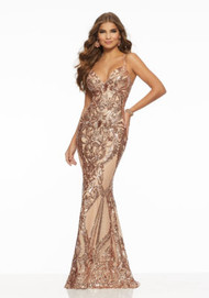 Mori Lee 43032.  Form Fitting Prom Dress Featuring Pattern Sequin on Net and a Deep-V Neckline. A Strappy Lace-Up Back Completes the Look. Available in: Rose Gold, Royal, Silver, Wine.