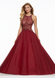 Mori Lee 43033.  Gorgeous Tulle Ballgown Featuring a Sheer, Boned Bodice Accented in Tonal Beading. A Strappy Corset Back Completes the Look. Available in: Deep Purple, Sangria.