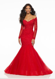 Mori Lee 43060.  Sophisticated Mermaid Gown Featuring an Off-the-Shoulder, Beaded Lace Bodice and Tulle Over Sparkle Net Skirt. Available in: Red, Black.