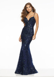 Mori Lee 43065.  Form Fitting Prom Dress Featuring Pattern Sequin on Net and a Deep-V Neckline. Available in: Navy, Red.