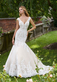 "Mori Lee 2031.  Pearl and Crystal Beaded, Alenon Lace Appliqus on a Soft Tulle Mermaid with Wide Scalloped Hemline and Low, Sheer Back. Available in Three Lengths: 55"", 58"", 61"". Detachable, Reversible Satin Front Bodice Lining Included in Matching Color and Nude. Available in: White, Ivory, Ivory/Nude."
