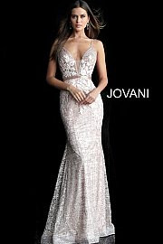 Jovani 62517.  Embellished and embroidered prom dress with plunging neckline, sleeveless fitted bodice, spaghetti straps, V-shaped open back and beaded waist belt, floor-length fitted skirt with a flared end. Available in: black, light-blue, off-white, rose/gold.