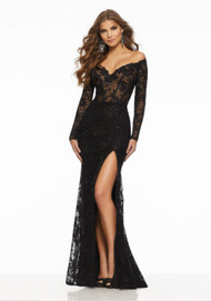 Mori Lee 43052.  Long Sleeve Prom Gown Featuring a Sheer, Boned Bodice and All Over Embroidery Accented in Tonal Beading. An Off-the-Shoulder V-Neckline Completes the Look. Available in: Black, Gold, Silver.