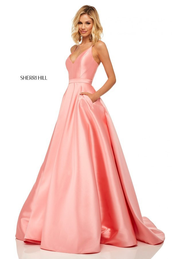 be88c02dec0 Sherri Hill 52821. Satin V-neck ball gown with lace up back. Yellow