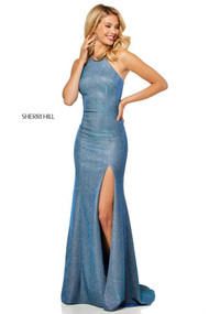 Sherri Hill 52481.  High neckline glitter stretch dress with side slit and cut out back. Available in: Electric silver, Electric purple, Electric aqua, Electric blue, Electric pink, Electric gold, Electric wine, Electric teal, Electric berry.