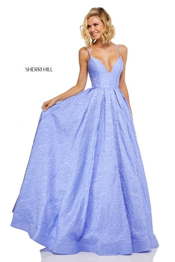 37fe1f49c5b Sherri Hill 52641. Embossed satin A-line gown with plunging neckline and  corset style