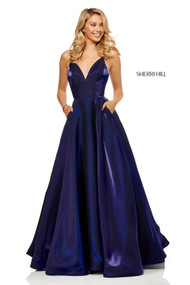 Sherri Hill 52424.  Cross died shimmer ball gown with V-neck bodice. Available in: Navy, Wine, Emerald, Gunmetal, Gold, Purple.