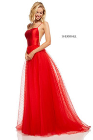 Sherri Hill 52639.  Satin spaghetti strap bodice with A-line point d'esprit skirt. Available in: Red, Blush, Ivory, Coral, Black, Navy.