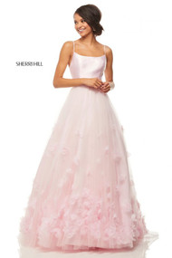 Sherri Hill 52828.  Tulle ball gown with 3D flowers and a mikado spaghetti strap bodice. Available in: Ivory and Pink.