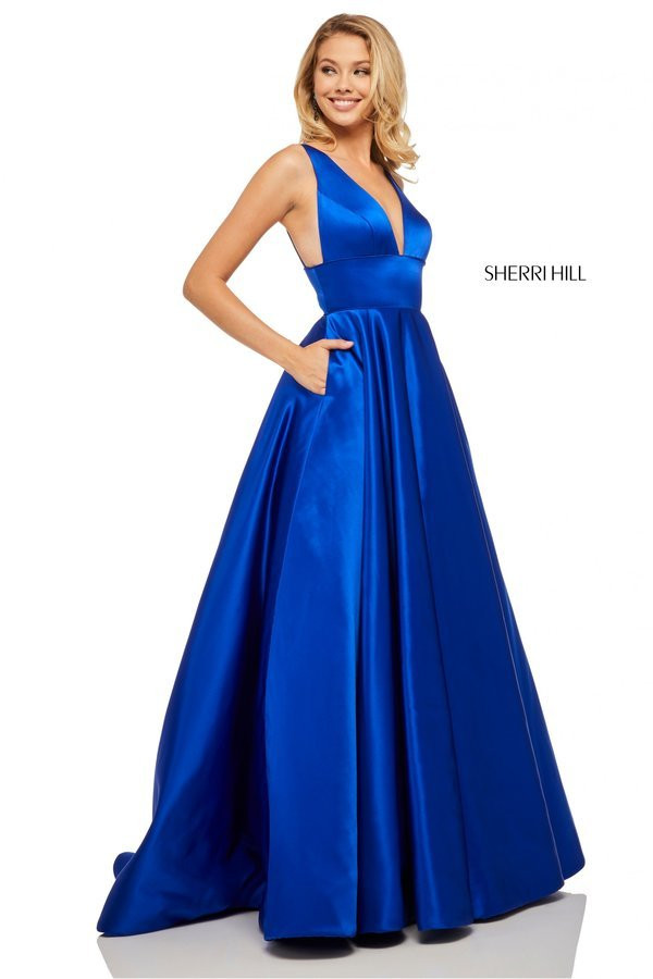 89076916000 Sherri Hill 52911. Satin A-line with deep-V neckline and pockets.