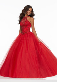 Mori Lee 43122.  Classic Prom Ballgown Featuring a Beaded High Halter Bodice with Full Tulle Skirt. A Corset Keyhole Back Completes the Look. Available in: Scarlet, Yellow, Capri.