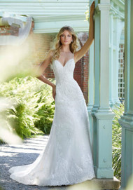 """Mori Lee 2023.  Crystal Beading on Embroidered Lace Appliqus on an A-Line, Tulle Gown Over Chantilly Lace with Wide Scalloped Hemline and Appliqud Shoulder Straps. Available in Three Lengths: 55"""", 58"""", 61"""". Available in: White, Ivory, Ivory/Almond."""