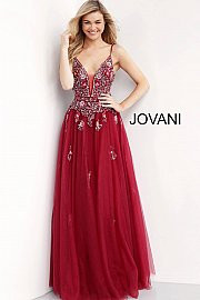Jovani 66121. Plunging Neck Embellished Prom Ballgown. Available in: burgundy, lavender, off-white.