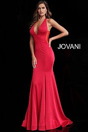 Jovani 64003A.  Plunging Neckline Open Back Prom Dress. Available in: black, charcoal, fuchsia, hot-pink, ivory, navy, red.