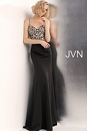 JVN 66059A.  Embroidered fitted prom dress with v-neckline, spaghetti straps, sleeveless bodice, and low back, floor-length fitted skirt with embroidered waterfall back. Available in: black, blush, light-blue, off-white.