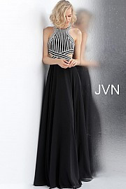 JVN 62472A.   Black and silver embellished prom dress with a high neckline, cut-outs, sleeveless fitted bodice, and an open back, floor-length flowy pleated skirt. Available in: black/silver.
