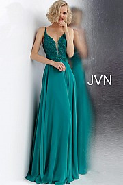 JVN 65904A.  Embroidered and embellished prom dress with a plunging mesh insert neckline, sleeveless fitted bodice and tie-up open back, floor-length flowy pleated skirt. Available in: emerald, light-blue, red, white.