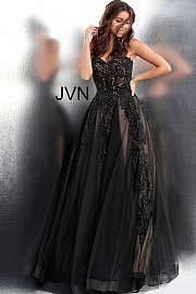 JVN 66970B.  Embroidered tulle ballgown, nude underlay, full floor length skirt, strapless bodice, lace-up back, embellished with heat set stones, sweetheart neckline. Available in: black/nude, black/white, blush, white/nude.