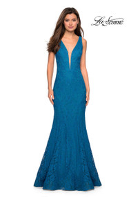 La Femme 27464.  Long stretch lace prom dress with wide straps and plunging neckline. Scattered sequins give this dress a dazzling feel. A deep V back completes the look. Back zipper closure. Available in: Dark Berry, Dark Turquoise, Electric Blue, Navy.