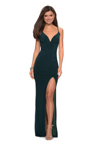 La Femme 27622.  A chic body hugging long prom dress with slight ruching. Dress has a plunging sweetheart neckline and left side leg slit. A criss cross back completes the look along with an exposed back zipper. Available in: Black, Forest Green, Gunmetal, Red, Royal Blue.
