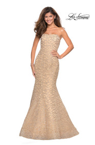 La Femme 27267.  A fun mermaid style prom gown with on trend metallic lace design. Features a strapless top. Back zipper closure. Available in: Light, Gold Light Pink, Navy.