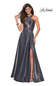 La Femme 27151.  An on trend two tone satin prom floor length gown that is sure to catch anyone's eye. This dress features a criss cross bodice with wide shoulder straps and small cut out, empire waist, and left side leg slit. The criss cross back and pockets finishes off the look. Back zipper closure. Available in: Indigo, Platinum, Red.