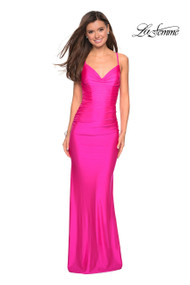 La Femme 27501.  Form fitting long jersey dress to impress at prom. This fully ruched gown features a sweetheart neckline and cool strappy back. Back zipper closure. Available in: Black, Burgundy, Gunmetal, Hot Pink, Sapphire Blue.
