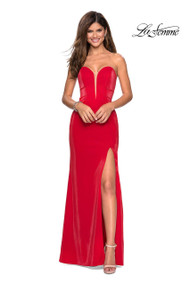La Femme 27051.  Trendy floor length jersey prom dress with strapless sweetheart neckline. This dress has light bodice ruching and a left side leg slit. Back zipper closure. Available in: Red,  Electric Blue, Teal.