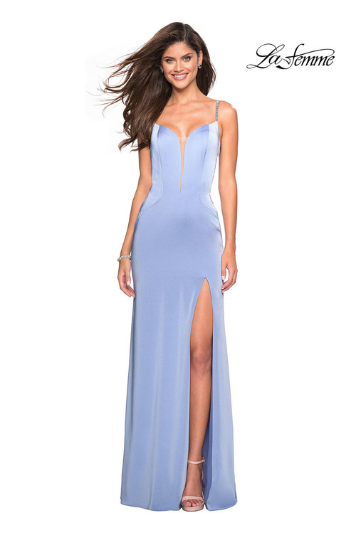 La Femme 27060.  Trendy jersey dress with sultry side leg slit. Featuring thin beaded straps and a cut out design back. Back zipper closure. Available in: Black, Blush, Cloud Blue.