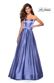 La Femme 27506.  Eye catching metallic satin A-line prom dress with pockets. Features an empire waist and strapless sweetheart neckline. Back zipper closure. Available in: Dark Periwinkle, Rose Gold, Teal.