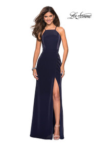 La Femme 26962.  Sophisticated shiney jersey prom dress with empire waist and high neckline. This dress includes slight ruching, a side leg slit, and intricate detailed back. Back zipper closure. Available in: Navy, Forest Green, Burgundy.