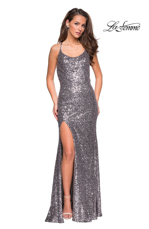 La Femme 26974.  Gorgeous head to toe sequin long prom dress with small scoop neckline. This dress had a right side leg slit and an eye catching criss cross open back. Back zipper closure. Available in: Silver, Black, Navy.