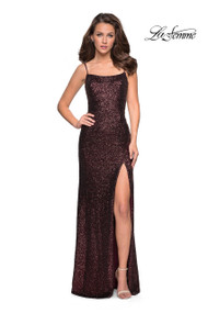 La Femme 27272. All sequin form fitting dress with small scoop neck and left side leg slit. Features a trendy cut out back. Back zipper closure. Available in: Garnet, Charcoal, Rose Gold.
