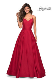 La Femme 27447.  Classic A-line ball gown with full skirt and empire waist. Features thin straps that lead to a gorgeous V shaped back. Back zipper closure. Available in: Red, Navy.