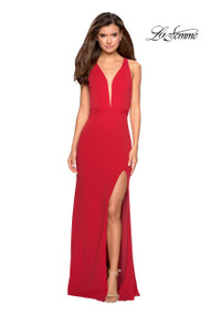 La Femme 26997.  A simple long jersey prom dress with left side leg slit. This dress includes a deep plunging neckline and detailed open back. Back zipper closure. Available in: Red, Black, White.