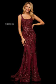 Sherri Hill 52925.  Fitted sequined chiffon gown with cut out back. Available in: Rose, Nude/ivory, Burgundy, Navy, Nude/coral, Nude/aqua, Light gold, Black.