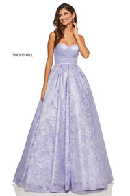 Sherri Hill 52500.  Lace ball gown with a sweetheart bodice and lace up back. Available in: Lilac.