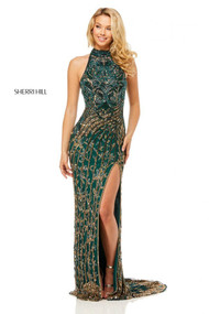 Sherri Hill 52426.  Fully beaded gown with high neck and open back. Available in: Gold/blue, Teal/multi, Nude/gold/silver.