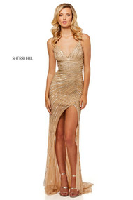 Sherri Hill 52515.  Sheer sequin column dress with asymmetric skirt front opening and V-neckline. Available in: Light gold, Navy, Black, Red, Wine, Emerald.