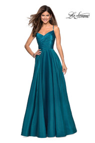 La Femme 27226.  Simple satin A-line prom dress featuring a lightly ruched bodice, sweetheart neckline, pretty ruched back, and pockets. Back zipper closure. Availablbe in: Berry, Marine  Blue, Teal.