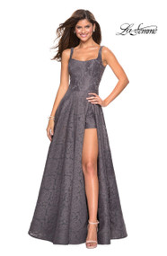 La Femme 27476.  Make a grand entrance in this stunning lace organza prom dress with pockets. Featuring an empire waist, small scoop back, and attached shorts. Back zipper closure. Availabe in: Cloud Blue, Dark Berry, Gunmetal, Red, White.