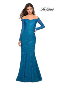 La Femme 26393. Look dazzling in this long sleeve stretch lace dress with scattered rhinestones. This dress features a cut out back. Back zipper closure. Available in: Black, Dark Turquoise, White.